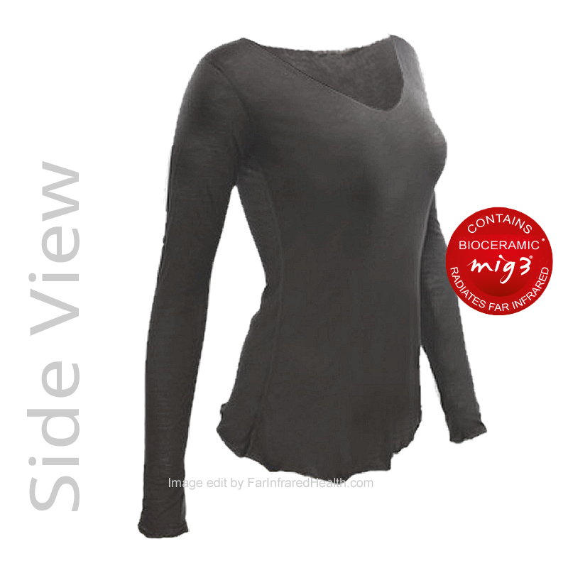 MIG3 Bioceramic Long Sleeve MC Top - Side View Charcoal