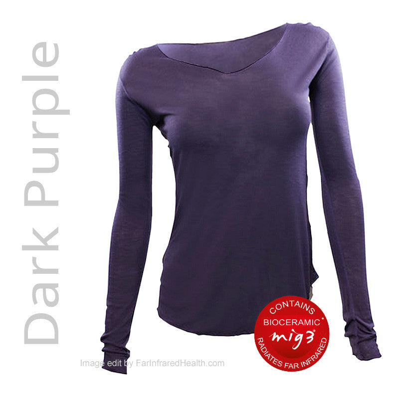 Dark Purple Far Infrared Long Sleeve Top for Women