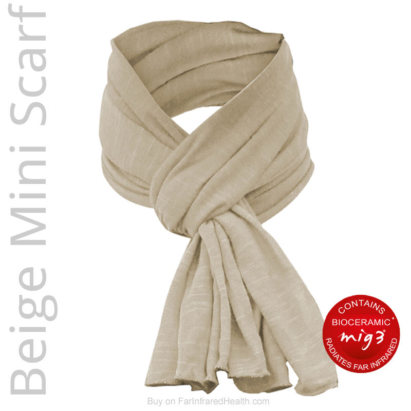 Beige Bioceramic Far Infrared Mini Scarf for Neck Pain Relief