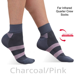 NEW Far Infrared Quarter Crew Sport Socks - Charcoal Pink