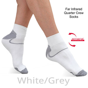 Buy White  Far Infrared Quarter Crew Sport Socks