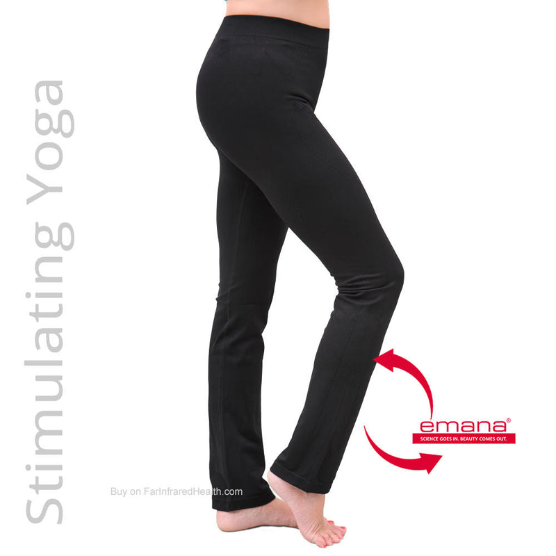 "Firma Infrared Yoga Pants are made of a unique slimulating bio-crystal ""smart fiber""."