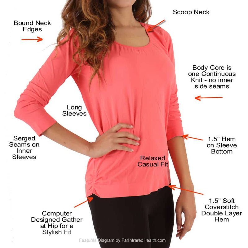 Features of the Long Sleeve SCOOP NECK Shirt for Women - Fibro Clothing