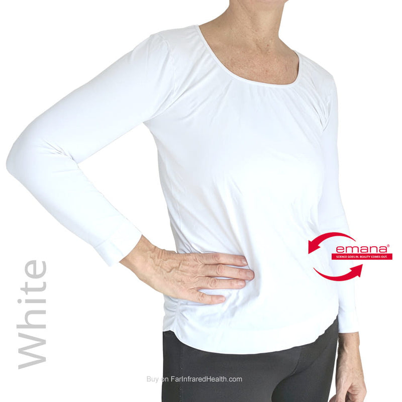 Best Circulation Long Sleeve Fibro Friendly Shirt -  SCOOP NECK Shirt for Women in White