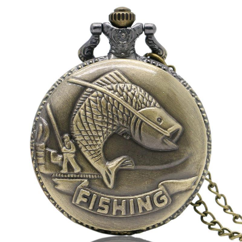 Grizzly Fishing Vintage Fishing Pocket Watch