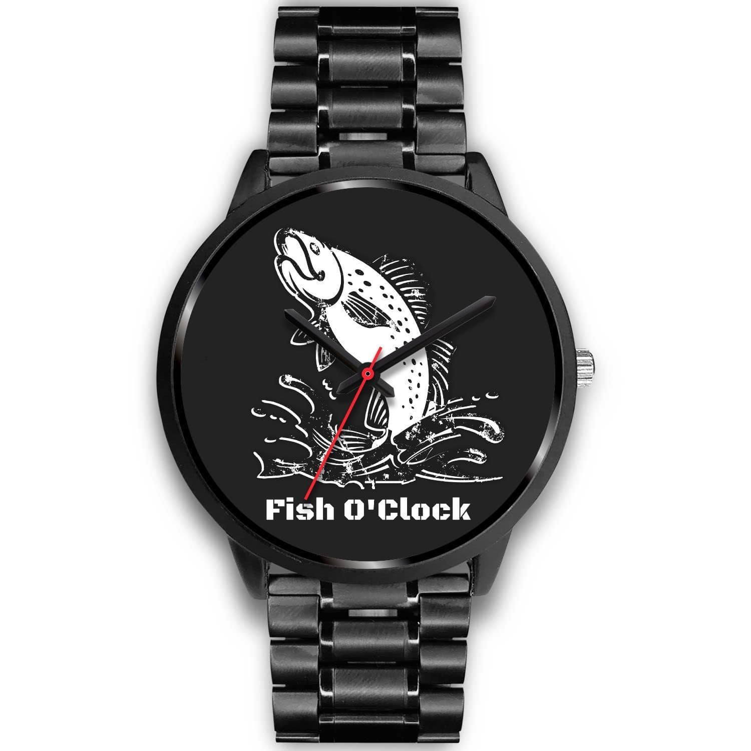 "wc-fulfillment Black Watch Mens 40mm / Black Metal Link ""Fish O'Clock"" Watch"