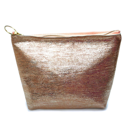 Peach Metallic Leather Makeup Bag