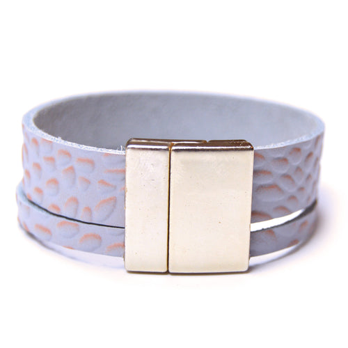 Peach Printed Leather Bracelet