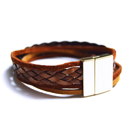 Brown Suede & Braid Bracelet