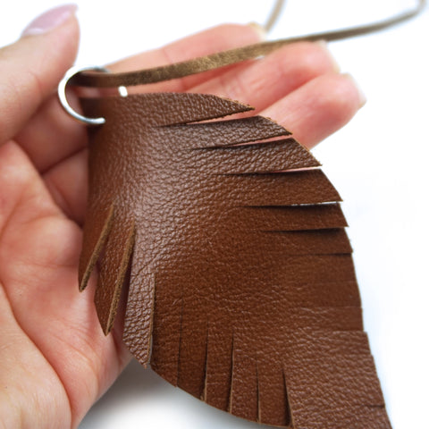 Blush Leather Feather Necklace