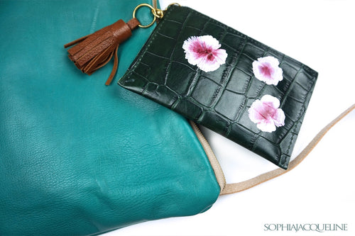 Flower Green Clutch with Tassel