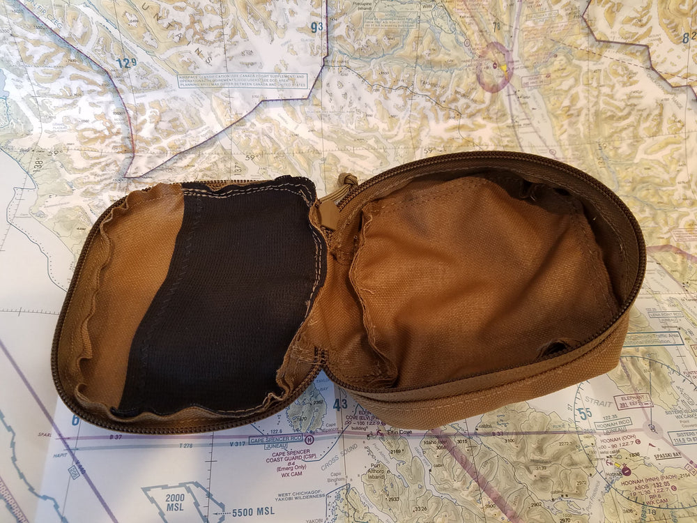 open nylon molle case in coyote for the arc light/power station
