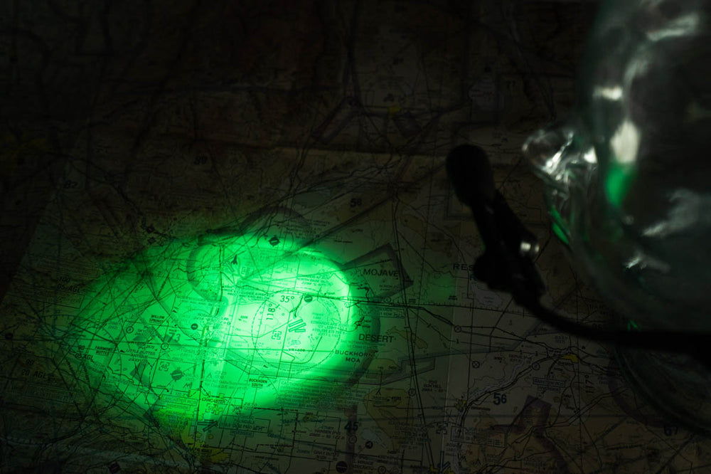 FLITELite Microlight Lip Light in NVIS Green illuminating navigational chart