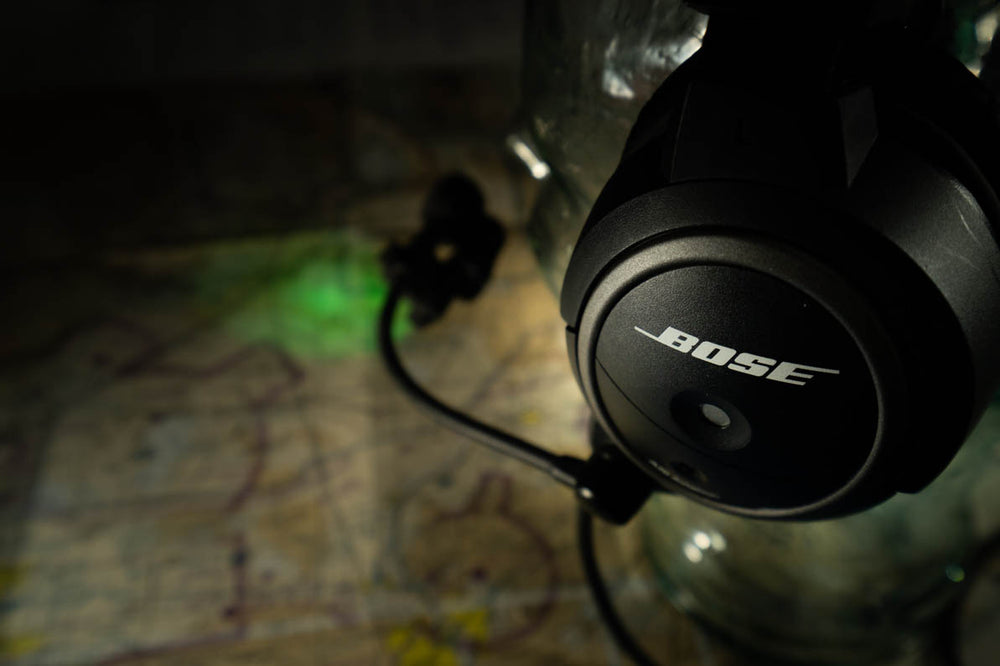 Microlight Lip Light in NVIS Green on a Bose headset