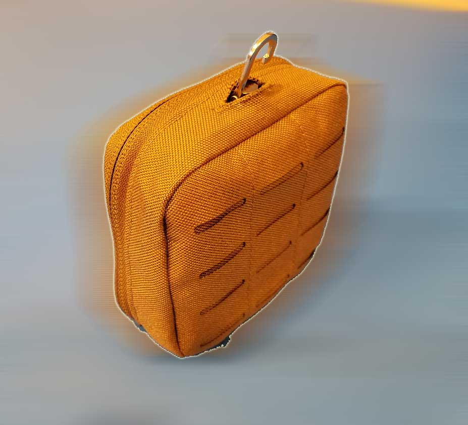tan nylon molle bag with contained ARC light and snap on 3D SLS printed frame with NVIS filter