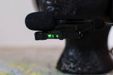 Close up view of NVIS green filtered Gen II lip light for Bose aviation headset
