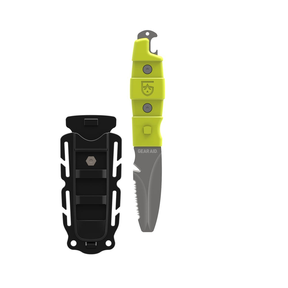 green akua rescue and dive knife with hi-vis green acetal polymer handle and black polymer sheath