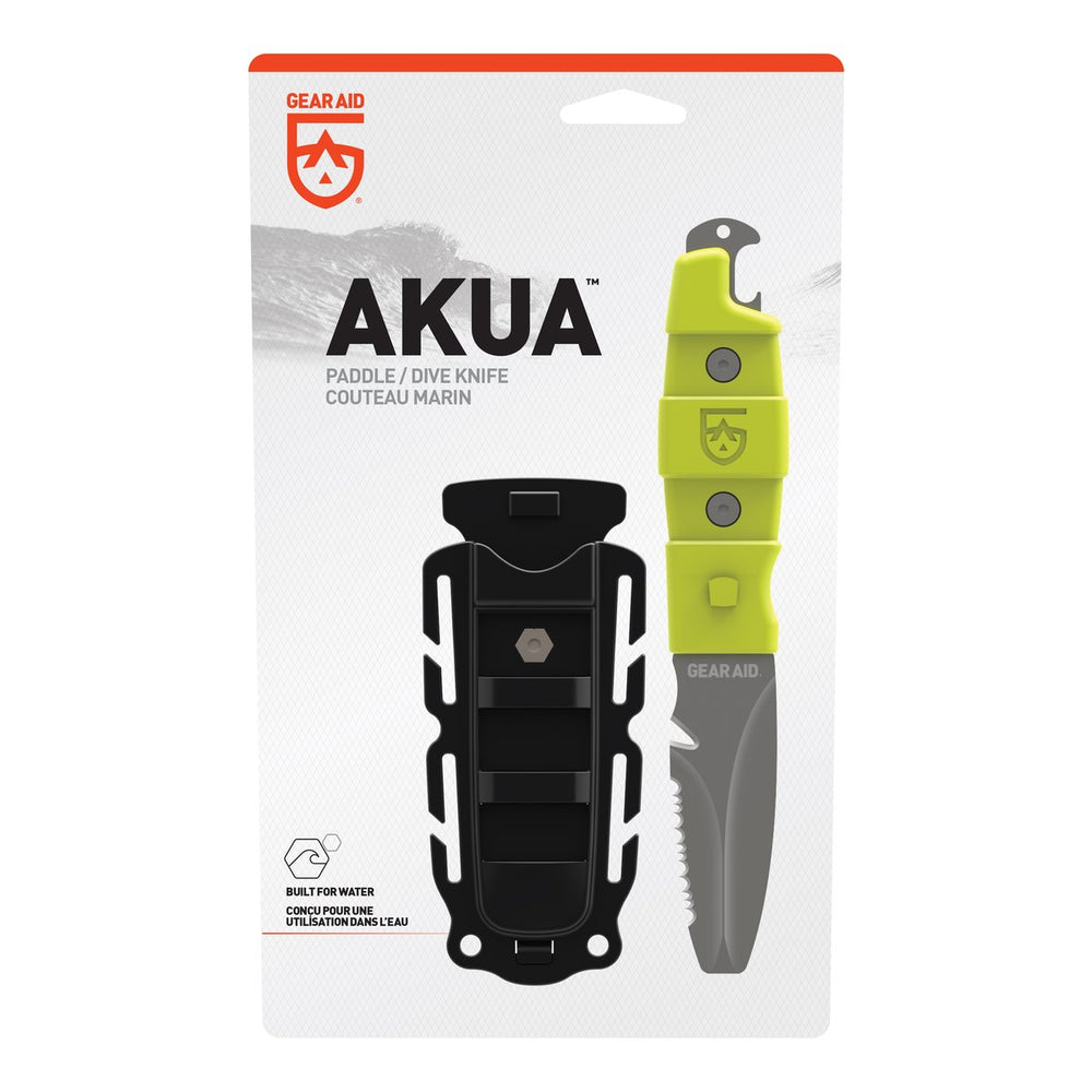 hi-vis green akua paddle/dive knife