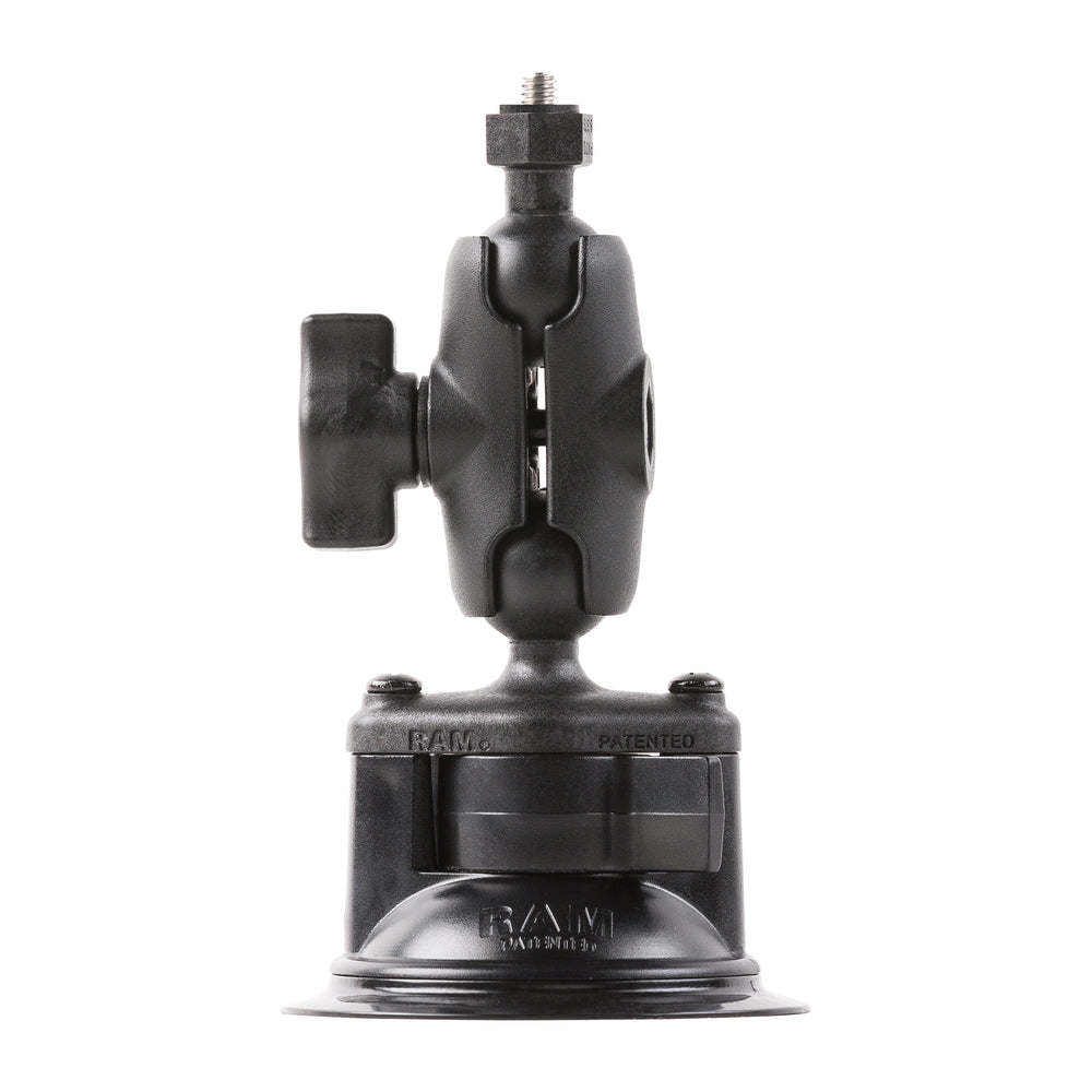 The suction mount by RAM attaches to smooth non-porous surfaces for placement of light, tablet, GPS