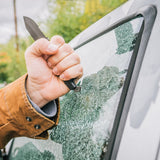 the gear aid buri utility knife breaking car window with butt end glass breaker