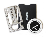 Lever Gear Toolcard Pro with clip shown with carrying case and sticker