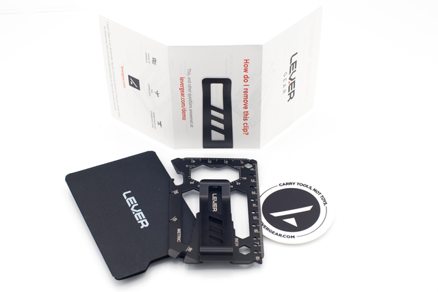 Toolcard Pro in Black Nitride QPQ finish with clip, carrying case, sticker, and instructions