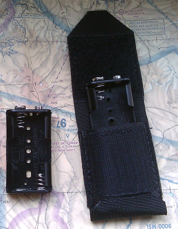 Black nylon dual AA battery pack