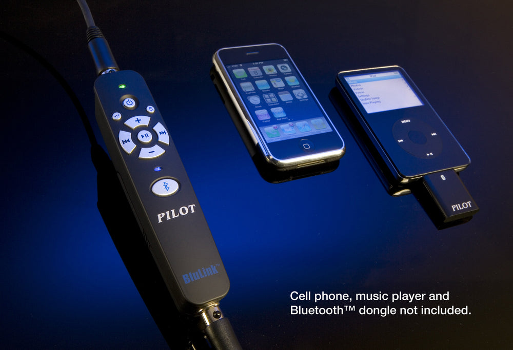 blulink adapter alongside a smartphone and ipod with bluetooth dongle for illustration purposes only
