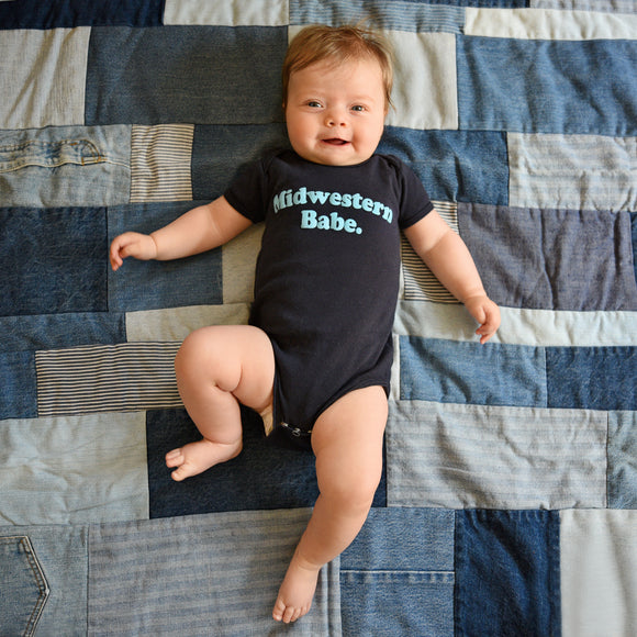 Midwestern Babe. Navy Infant Onesie