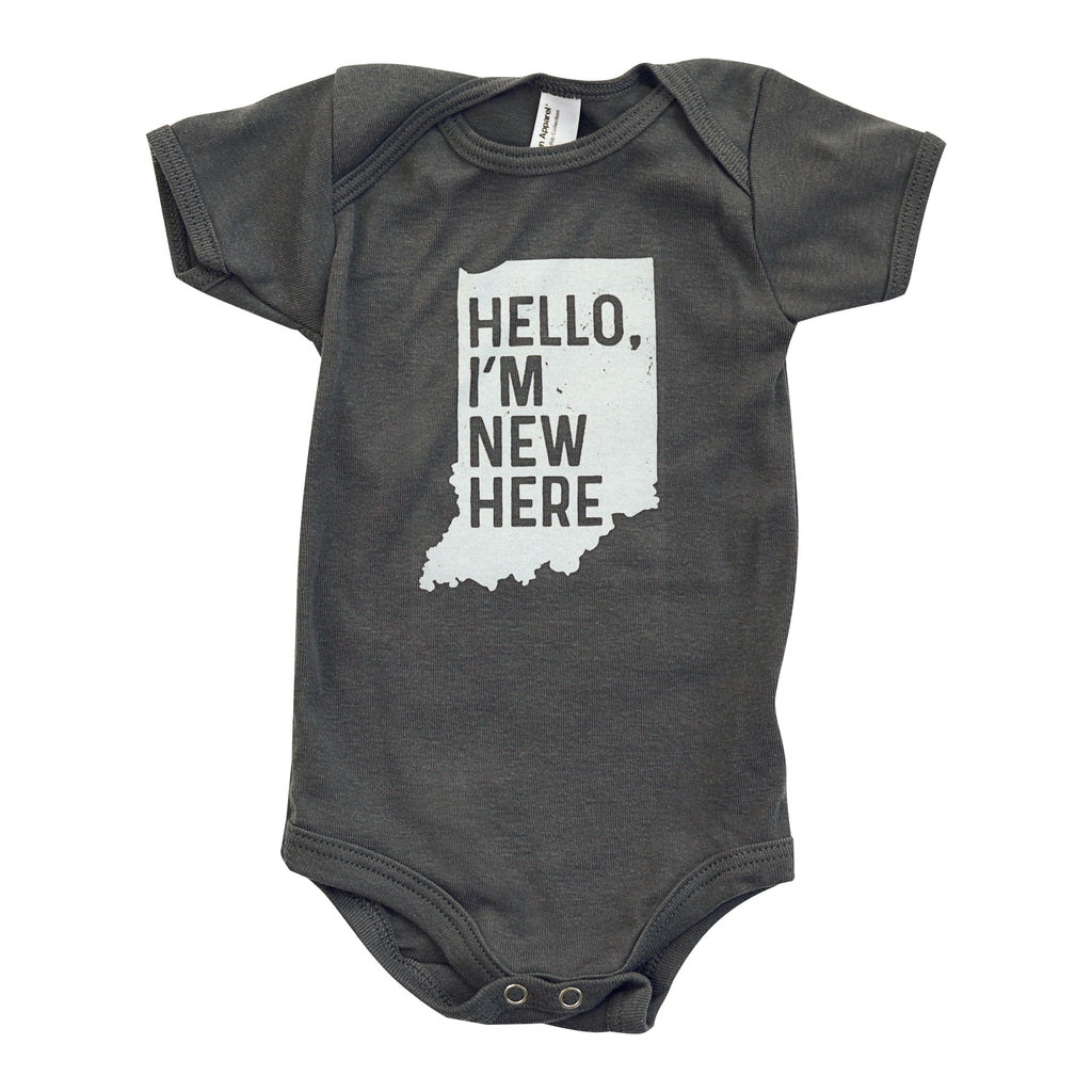 Hello, I'm New Here (Indiana) Infant Onesie