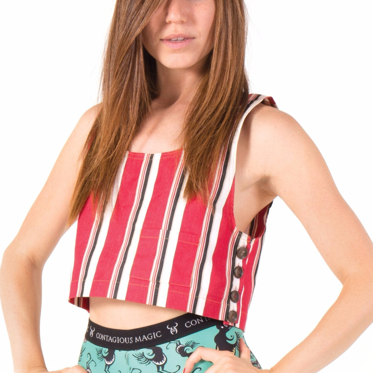 Paperdoll Cut-Out Top - Red Stripes