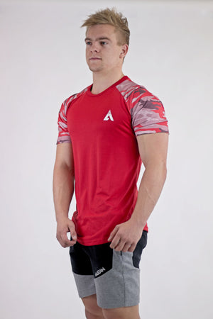 Casual Camo T-Shirt - Fire Red - AUDIN