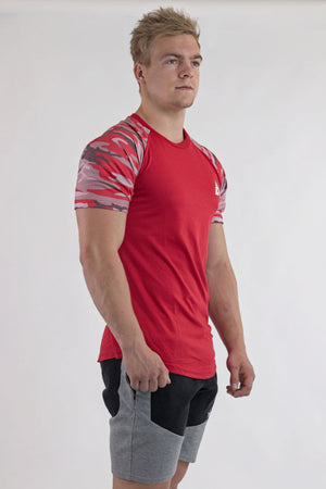 Casual Camo Tee - Fire Red - AUDIN
