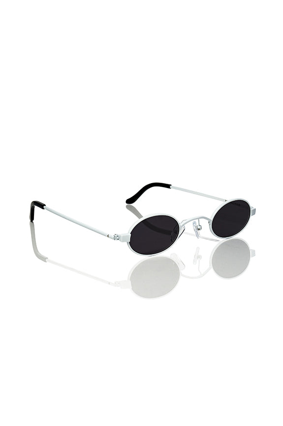 White Doris - Small Round Sunglasses
