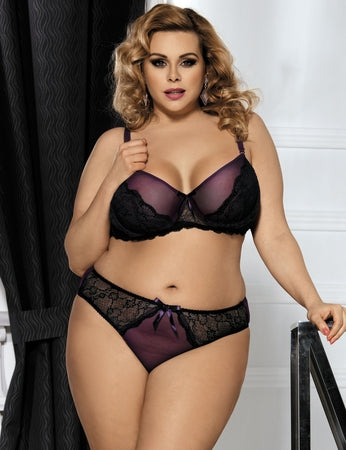 Plus Size Poetical Lace U/W Balconette Bra & Cheeky Brief - XL