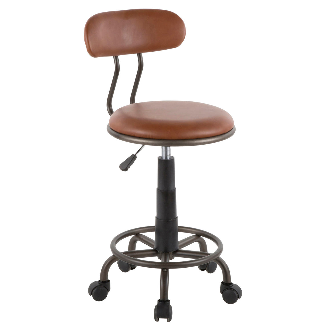 Swift Industrial Task Chair in Antique Metal and Brown Faux Leather by LumiSource