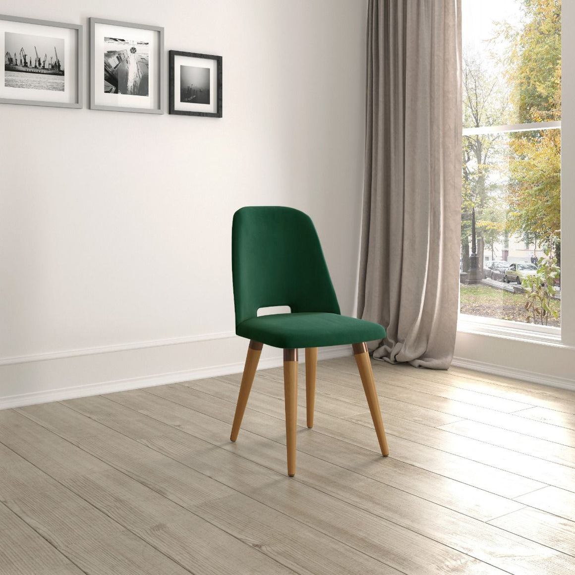 Selina Velvet Accent Chair in Green