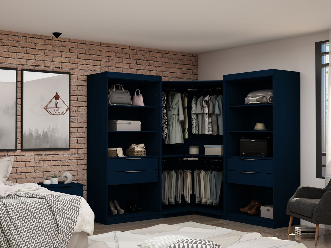 Mulberry Open 3 Sectional Modern Wardrobe Corner Closet with 4 Drawers - Set of 3 in Tatiana Midnight Blue