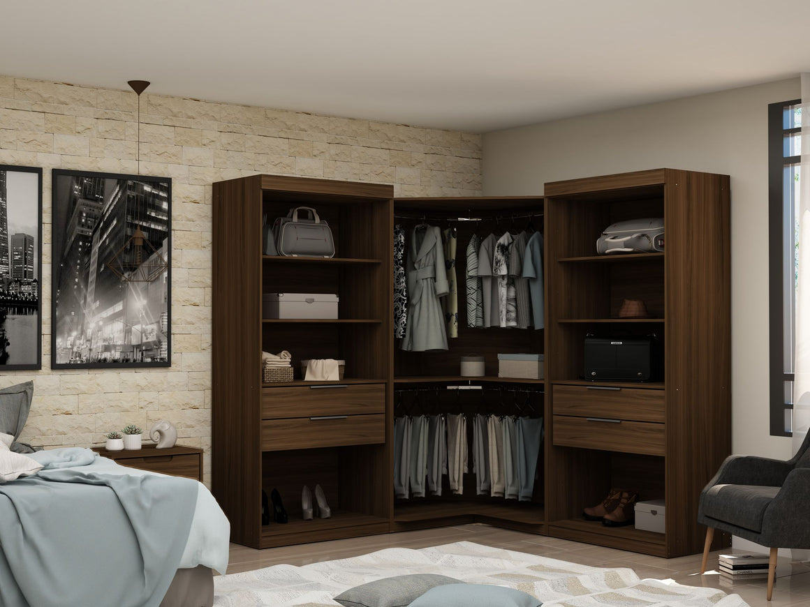 Mulberry Open 3 Sectional Modern Wardrobe Corner Closet with 4 Drawers - Set of 3 in Brown