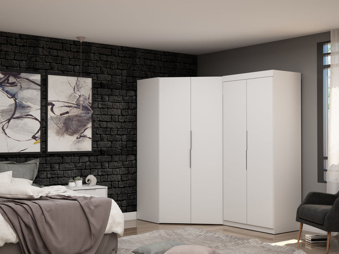 Mulberry 3.0 Sectional Modern Corner Wardrobe Closet with 2 Drawers - Set of 2 in White