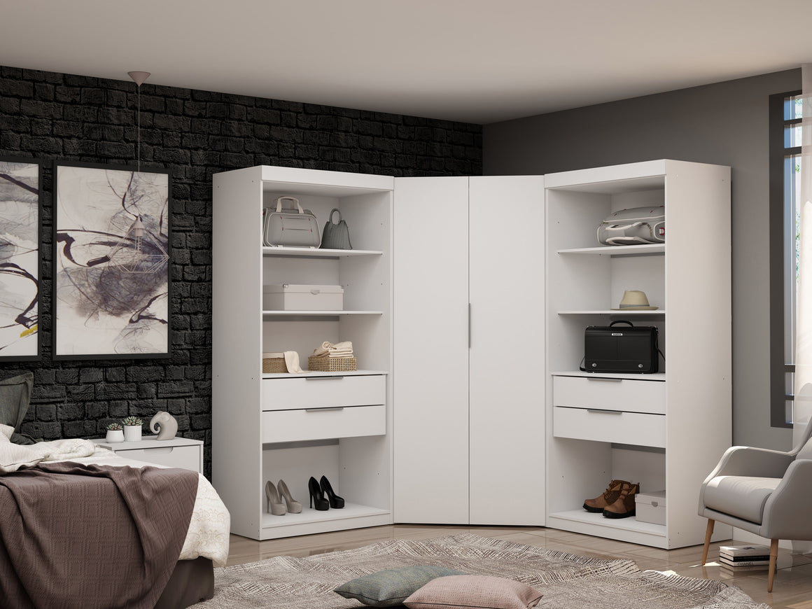 Mulberry 2.0 Semi Open 3 Sectional Modern Wardrobe Corner Closet with 4 Drawers - Set of 3 in White