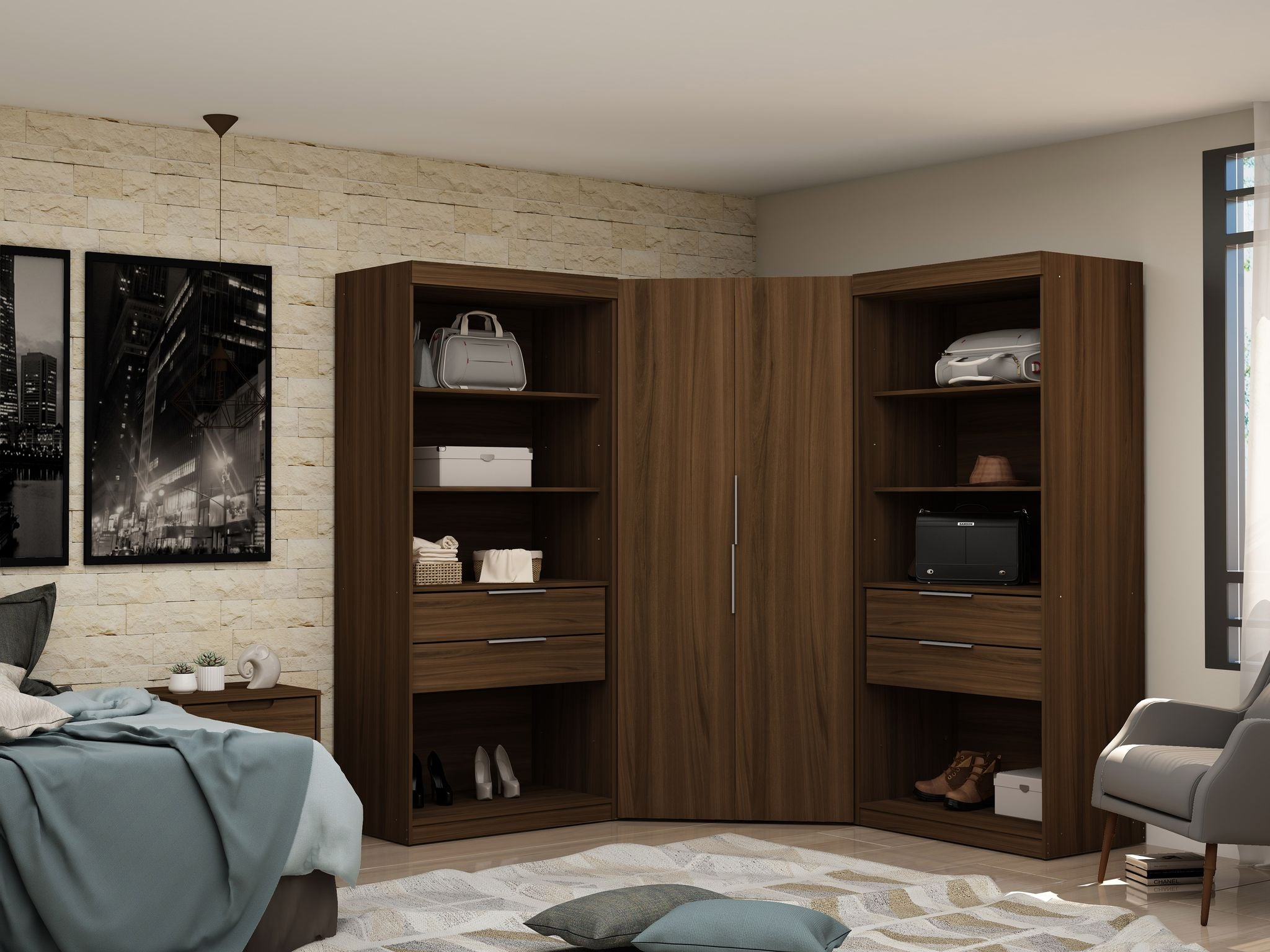 Mulberry 2 0 Semi Open 3 Sectional Modern Wardrobe Corner Closet With Housetie