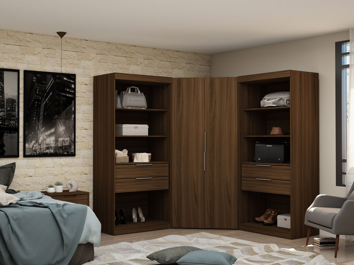 Mulberry 2.0 Semi Open 3 Sectional Modern Wardrobe Corner Closet with 4 Drawers - Set of 3 in Brown