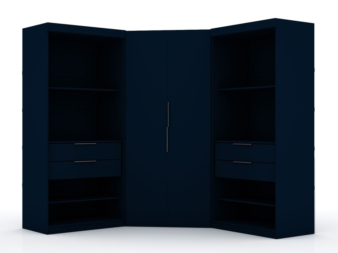 Mulberry 2.0 Semi Open 3 Sectional Modern Wardrobe Corner Closet with 4 Drawers - Set of 3 in Tatiana Midnight Blue