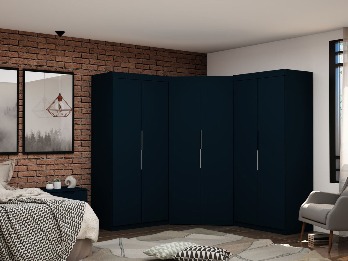 Mulberry 3.0 Sectional Modern Wardrobe Corner Closet with 4 Drawers - Set of 3 in Tatiana Midnight Blue