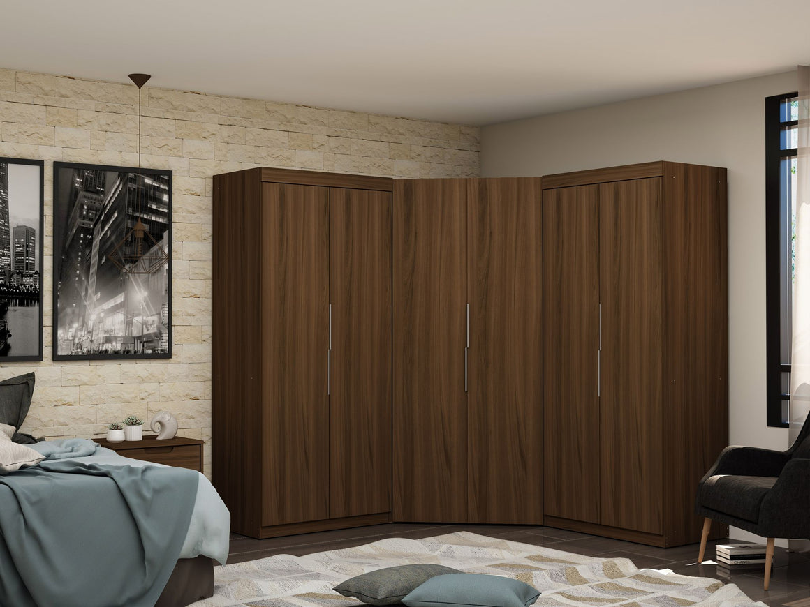 Mulberry 3.0 Sectional Modern Wardrobe Corner Closet with 4 Drawers - Set of 3 in Brown
