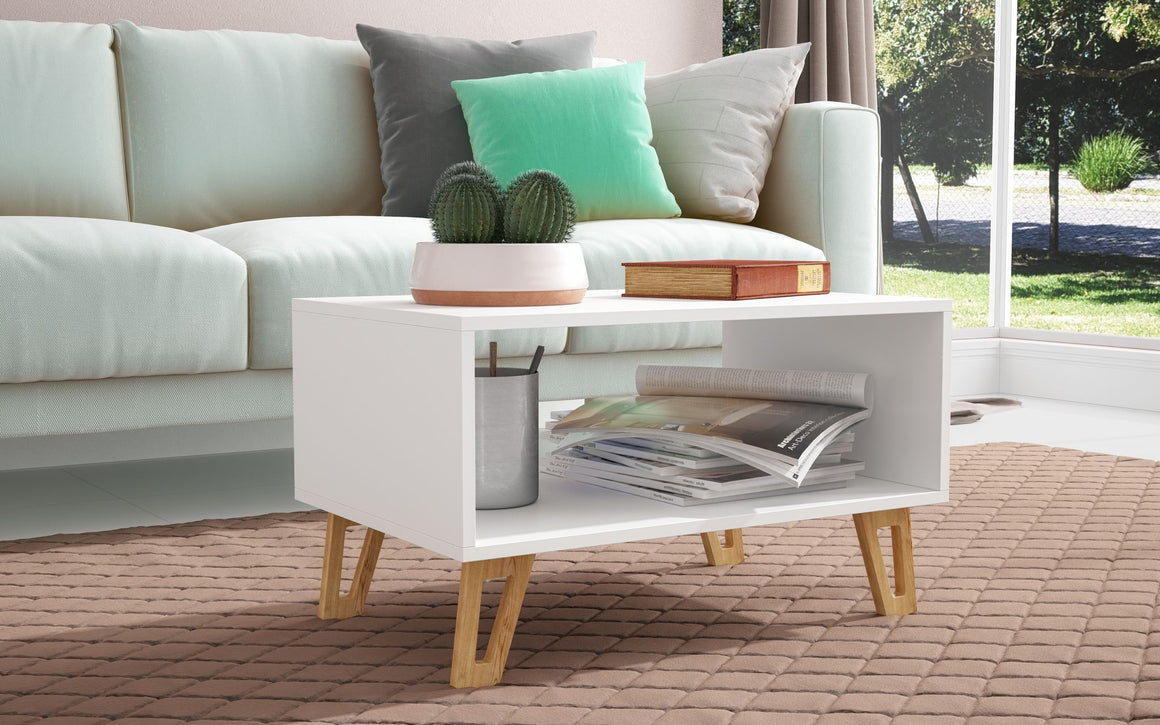 "Doris 26.57"" 1- Open Cubby Mid-Century Coffee Table in White"