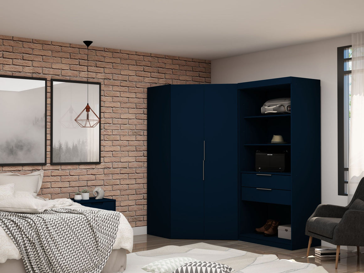 Mulberry 2.0 Semi Open 2 Sectional Modern Wardrobe Corner Closet with 2 Drawers - Set of 2 in Tatiana Midnight Blue