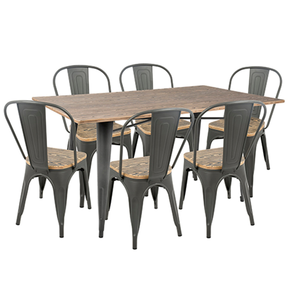 Oregon 7-Piece Industrial-Farmhouse Dining Set in Grey and Brown by LumiSource
