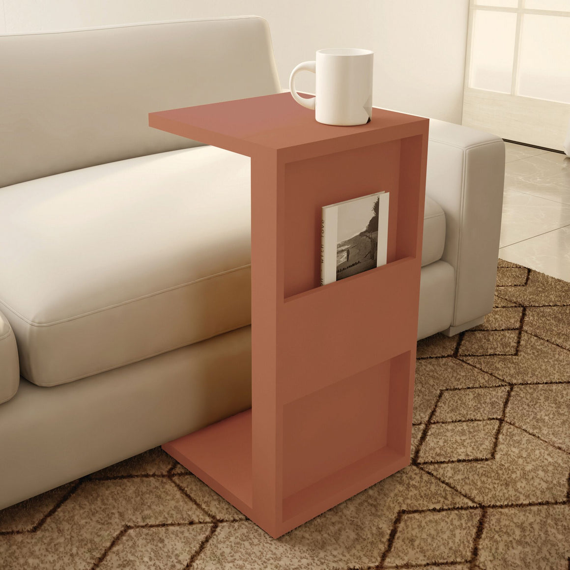 Marine Modern End Table with Magazine Shelf in Ceramic Pink